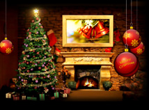 New Year  screensavers  nfsChristmasFireplace1