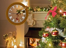 Clocks  screensavers  nfsChristmasTreeAtFirePlace