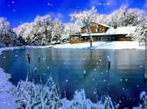 Winter  screensavers  nfsWinterLakeHouse