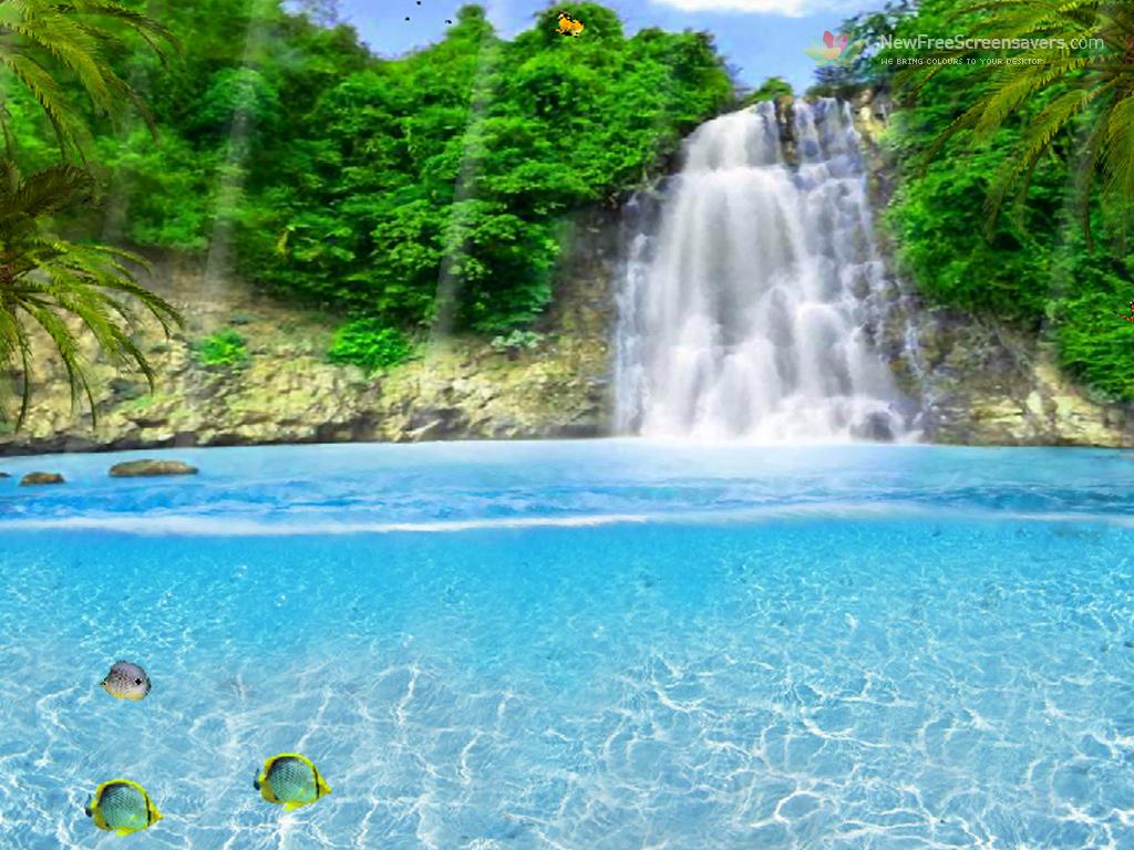 Рисунки моря и водопада
